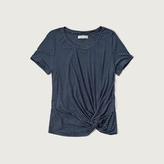Abercrombie & Fitch Drapey Knot Front Tee ($17) ❤ liked on Polyvore featuring tops, t-shirts, navy stripe, blue striped t shirt, navy striped tee, scoop neck t shirt, navy striped t shirt and striped tee