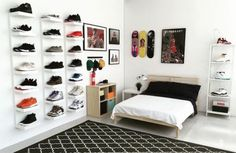IKEA® and HYPEBEAST Design the Ideal Sneakerhead Bedroom is part of Ikea bedroom For Teens - Plenty of space to display your kicks, and even room for a bed Hypebeast Room, Hypebeast Sneakers, Shoe Room, Shoe Wall, Boys Room Design, Teenage Room, Teenage Boy Bedrooms, Awesome Bedrooms, Bedroom Apartment
