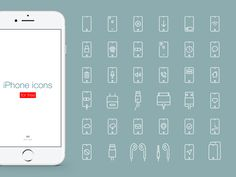 iPhone icons collection for free designed by Max Kalik. Connect with them on Dribbble; Iphone Icon, Icon Collection, Icon Set, Line Art, Free Design, Sticker, Line Drawings, Stickers, Decal