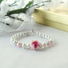Girls Bracelet Flower Girl Bracelet in Ivory Swarovski Pearls With a Femo Flower Focal Bead and Tiny Rhinstone Spacers Five Colors