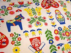 "So in love with everything in this pattern - Dala Horses, Matryoshka, Flowers, Windmills - Fabulous ""Dala"" fabric from Arielle"