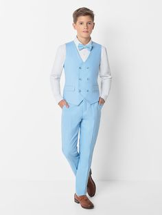 Shop for boys light blue waistcoat suit at Roco. Perfect as a page boy suit with free UK delivery & 30 day returns. Boys Suit Sets, Kids Suits, Blue Trousers, Trouser Suits, Kids Wedding Suits, Suits Harvey, Double Breasted Waistcoat, Suit Measurements, Wedding Dress Styles