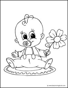 Baby with Flower - Coloring Page | by xtempore