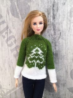 Knitted Christmas Green White Sweater for от OrdaliaHandwork