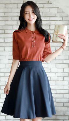 StyleOnme_Basic Solid Color Flared Skirt #navy #flared #skirt #elegant #koreanfashion #kstyle #kfashion #dailylook #seoul