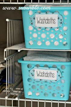 I love the idea of using shelves and baskets for the linen closet. I may need to do this! My Life is Embarrassing: The Linen Closet - Suburble