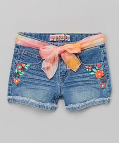 Look what I found on #zulily! Medium Denim Floral Scarf Shorts - Girls by Squeeze #zulilyfinds