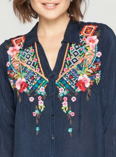 Detail: Johnny Was Embroidered Myra Button Down #multicolor #floral #geometric #embroidery