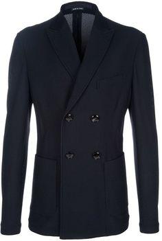 Fancy - Giorgio Armani Double Button Blazer in Black for Men   Lyst