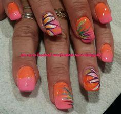 Tropical summer nails. Follow me on my nail page at www.facebook.com/nailsbyjami. #abstract #abstractnailart #peoriail #peoriailnailtech #nailprodigy #nailpro #naildesigns #handpaintednails #art #nailpolish #nailsmagazine #brightnails #ombrenails #flowernailart #colorfulnails #acrylicnails