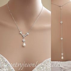 Hey, I found this really awesome Etsy listing at https://www.etsy.com/listing/257001117/back-drop-bridal-necklace-pearl-crystal