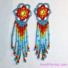 Sun Catcher Earrings.  Photo-tutorial from beadiferous.com.