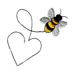 machine embroidery designs how to make Embroidery Hearts, Bee Embroidery, Free Motion Embroidery, Flower Embroidery Designs, Simple Embroidery, Machine Embroidery Patterns, Applique Patterns, Bee Art, Bee Design