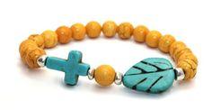 Beautiful 8mm Orange Magnesite Beads, Turquoise Magnesite Cross, Turquoise Magnesite Leaf and Silver Plated Brass Accents Stretch Bangle Bracelet | AyaDesigns - Jewelry on ArtFire