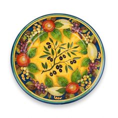 Novembre Platter - Autumn-inspired, the warm, rich tones of this handmade and hand painted platter will impart warmth in any room you might choose to display it in. The olive branch is a symbol of peace and victory. Made in Tuscany and imported by the Italian Pottery Outlet in Santa Barbara, CA. Beautiful!