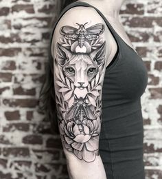 Cat tattoo by Taras Shtanko