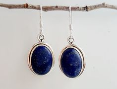 Lapis Lazuli Earrings Sterling Silver Lapis by HimalayanTreasure