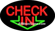 """Check In Flashing Neon Sign-ANSAR14174  Dimensions: 17""""H x 30""""L x 3""""D  Custom colors ship in 5-7 business days  110 volt flasher transformer  Cool, Quiet, and Energy Efficient  Hardware & chain are included  Comes standard with 6' power cord  Indoor use only  1 Year Warranty/electrical components  1 Year Warranty/standard transformers."""