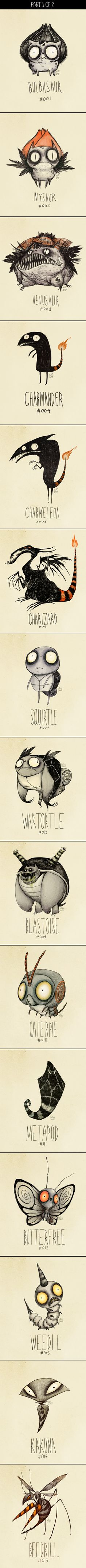 @Tina Doshi Wong, I can't decide if I like this or hate it. I think I like it. :>  Tim Burton's Pokemons (part 1)