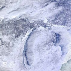 Snow covered Lake Michigan and the state of Michigan (January 2014) - mile for mile, Michigan has had more snow than any other state in the USA