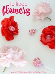 Valentine's Day Craft – Tissue Paper Flower Lollipops
