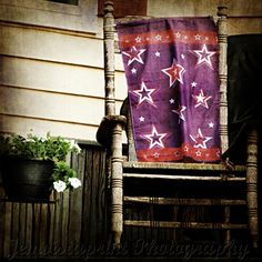 Old Chair and Starry Flag photo art print cozy by Jemvistaprint, $25.00