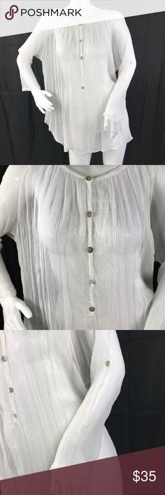 01aaa4bd759170 Scandal Italy One Size Silk Blend Top Gauzy Sheer Scandal Italy One Size  Silk Blend Top Gauzy Sheer Crochet Lace Back White Scandal Italy Tops Tunics