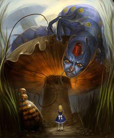 Alice - Caterpillar by *iZonbi Digital Art / Drawings & Paintings / Fantasy Alice In Wonderland Drawings, Alice And Wonderland Quotes, Adventures In Wonderland, Lewis Carroll, Caterpillar Art, Wonderland Tattoo, Alice Blue, Alice Madness, Mushroom Art