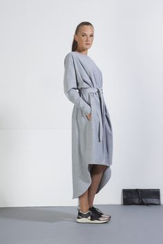 Dress with a round neckline and long sleeves. Waist belt made of the same fabric, elast on the back side, side pockets in the seam. Asymmetric bottom hem. By JOSEFINA BAKOŠOVÁ Womens Brand #fashiondiscovery #JOSEFINA_BAKOSOVA #Dress #fashion #style #designers_dresses #dress_style #casual_dresses #womens_dresses #fashion_dresses #dresses_outfit #flowy_dresses #wrap_dress Flowy Dresses, Casual Dresses, Women Brands, Gray Dress, Dress Fashion, Designers, Normcore, Neckline, Belt