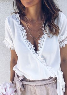 Sexy Lace Splicing V Neck Belted Short Sleeve Hollow Out T-Shirt – Mrcovic Sexy Shirts, Casual T Shirts, Casual Outfits, Outfit Vestidos, Paris Mode, Blouse Outfit, Mode Inspiration, Summer Tops, Spring Summer