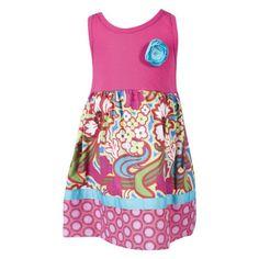 Handmade Pink Printed Tank Dress w/ Silk Flower $38