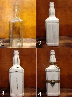 How to Distress Your Bottle! Step 1: Wipe it down with alcohol (make sure it has raised edges) Step 2: Paint the entire bottle in the color of your choice. Let it dry completely. Step 3: Using sandpaper, strip away the paint along the edges and the raised designs, such as the name or signature artwork. Step 4: Decorate! We used our favorite sand twine and some old earrings for a Valentine's Day twist!