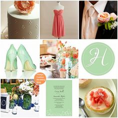Mint and coral wedding theme