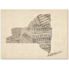 Trademark Fine Art Old Sheet Music Map of New York State Canvas Art by Michael Tompsett, Size: 14 x 19, Black