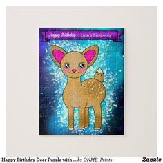 Happy Birthday Deer Puzzle with Glitter Stars #Onmeprints #Zazzle #Zazzlemade #Zazzlestore #Zazzlestyle #Happy #Birthday #Deer #Puzzle #Glitter #Stars Twinkle Star, Twinkle Twinkle, Motivational Gifts, Glitter Stars, Make Your Own Puzzle, Custom Gift Boxes, Star Sky, Puzzles For Kids, Kawaii Cute