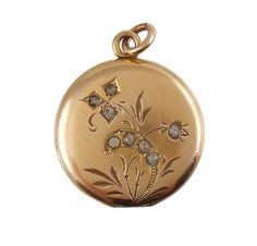 Victorian Locket Pendant Fontneau & Cook Co Yellow Gold Filled Paste Stones Mono