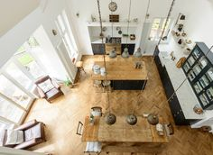 The view from the original minstrels gallery in this amazing Shaker kitchen by deVOL