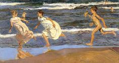 Joaquin Sorolla y Bastida - Running Along the Beach [Museo de Bellas Artes de Asturias, Oviedo - Oil on canvas] Spanish Painters, Spanish Artists, National Gallery, Running On The Beach, Impressionist Paintings, Art Database, Oil Painting Reproductions, Claude Monet, Oeuvre D'art