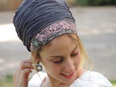 Special Soft Presence Tichel, Hair Snood, Head Scarf,Head Covering,jewish headcovering,Scarf,Bandana,apron http://etsy.me/2nWiN19 #accessories #hat #gray #pink #tichel #headcovering #jewishheadcovering #headscarf #