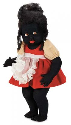 Raised by the Song of the Murmuring Grove: 232 Rare Italian Black Felt Googly Character Girl by Lenci