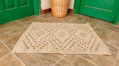 Crochet Rug, Natural Linen