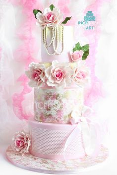 """""""Vintage Beauty"""" ~ Hand painted, Sugar Roses  and all edible"""