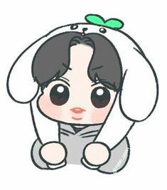 Chanyeol <credits to owner> Chanyeol Cute, Park Chanyeol Exo, Exo Stickers, Exo Fan Art, Cute Chibi, Kpop Fanart, Doodle Art, Cute Drawings, Cute Art