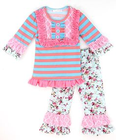 Another great find on #zulily! Blue & Pink Stripe Top & Flower Ruffle Pants - Infant, Toddler & Girls #zulilyfinds