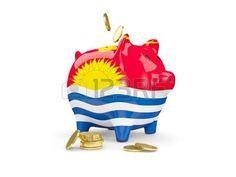 Hucha con monedas y con la bandera de Kiribati. Piggy Bank, Central Bank, Coins, Banks, Illustrations, Money Bank