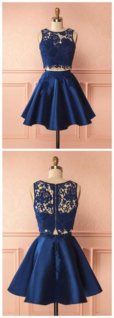 Outlet Easy Prom Dresses Short Two Piece Dark Blue Satin Homecoming Dress With Lace Appliques Dark Blue Homecoming Dresses, Two Piece Homecoming Dress, Prom Dresses Two Piece, Cheap Homecoming Dresses, Dresses Short, Prom Dresses 2018, Cheap Dresses, Evening Dresses, Formal Dresses