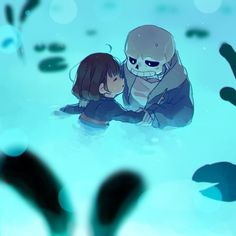 Since the human child doesn't learned how to swim, then a friendly living-skeleton shows up and teaching them in the pond.