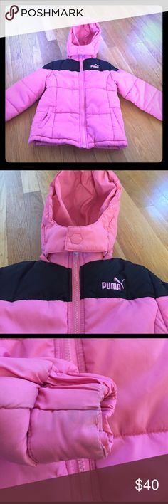 Girls Puma winter coat EUC. Very warm. Fleece lined. Two outer pockets and one inner pocket. Hood is detachable by snaps. Washed and clean. Just some staining left on edge of sleeves. Puma Jackets & Coats Puffers
