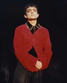 Priyesh wears cardigan and trousers Charles Jeffrey. Top Grace Wales Bonner. Photography Harley Weir
