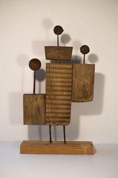 sculpture/mixed media by Marrr/Marek Bimer Sculpture Head, Abstract Sculpture, Wood Sculpture, Totems, Found Object Art, Wooden Art, Figurative Art, Home Art, Glass Art